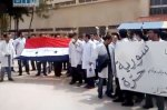 Students protesting in the Damascus University against regime